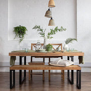 Standford Industrial Reclaimed Wood Dining Chairs with Table