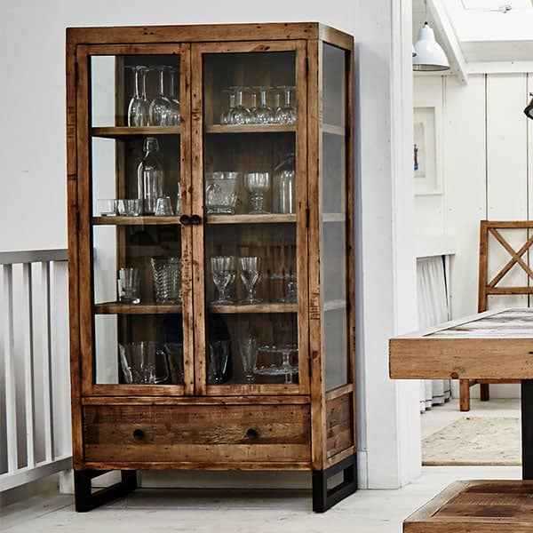 Standford Reclaimed Wood Glass Display Cabinet   Modish Living