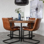 Standford Round Reclaimed Wood Dining Table and four leather chairs