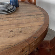 Reclaimed Wood Top of Standford Industrial Round Wood Dining Table
