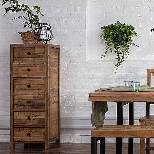 Standford Reclaimed Wood Tall Chest of Drawers in Dining Room