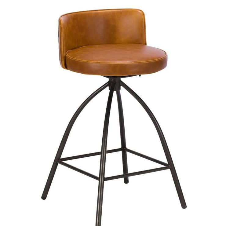 Cut out image of Standford faux leather bar stool, showing tan leather with natural-esque markings and black industrial style legs.