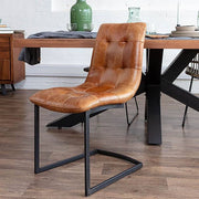 Standford Brown Leather Dining Chairs with industrial dining table