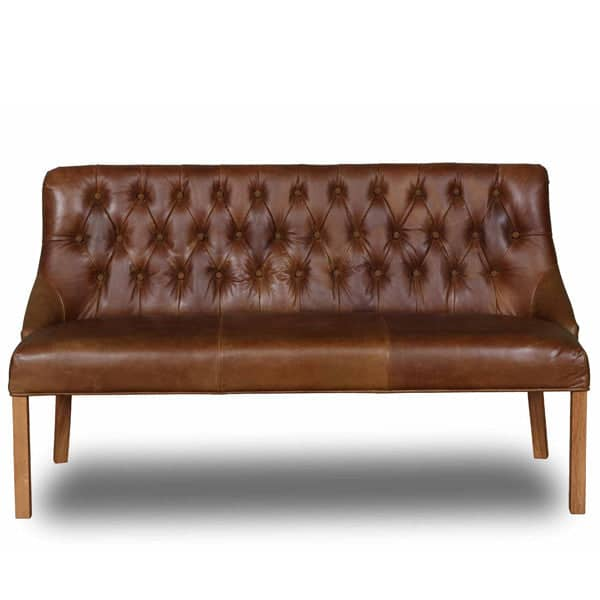 Stanton Cerato Leather Dining Bench with wooden legs