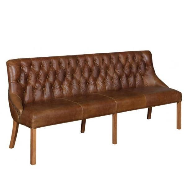 Stanton Cerato Leather Dining Bench 4 Seater