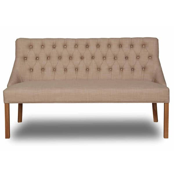 Stanton Dining Bench Cotswold Wool front view with wooden legs