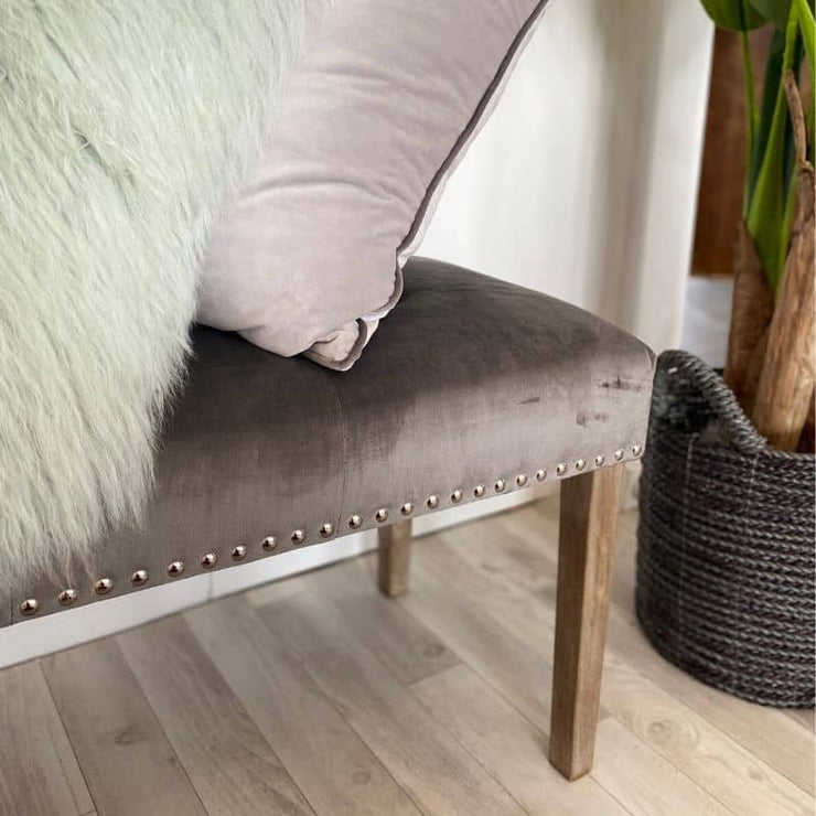 Close Up Telford Grey Velvet Dining Bench