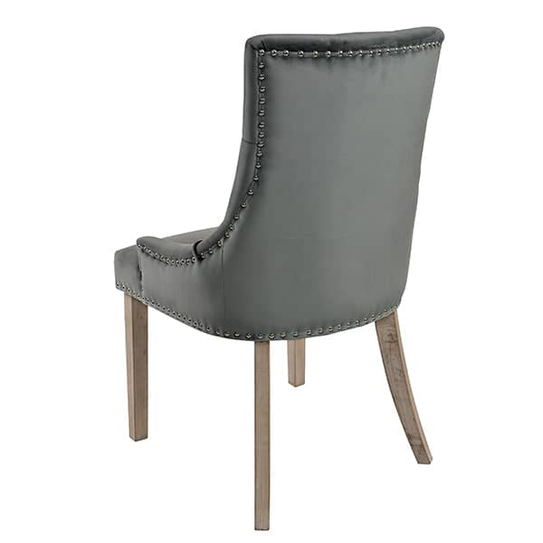 Telford Grey Velvet Dining Chair with Vintage Legs Back