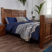 Solid Wooden Reclaimed Bed in bedroom with bed throw