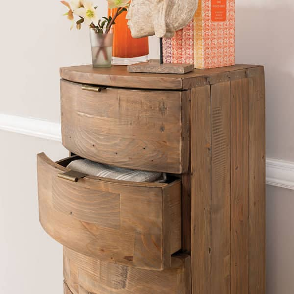 Winchester Rustic Wooden Tall Chest of Drawers Open