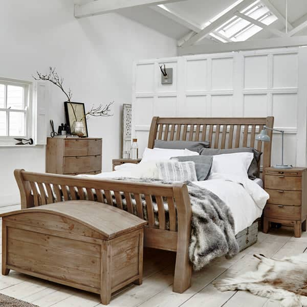 Winchester Rustic Wooden Bed and Blanket Box in Room