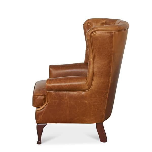 Wing Wrap Brown Leather Armchair
