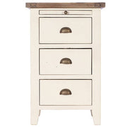 Worcester Reclaimed Wood White Painted Bedside with Drawers