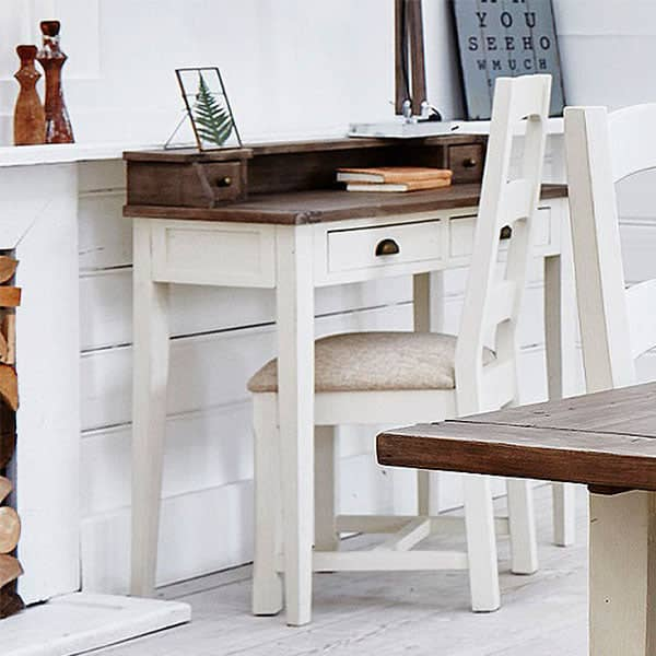 Worcester Reclaimed Wood White Painted Desk and Wooden Chair