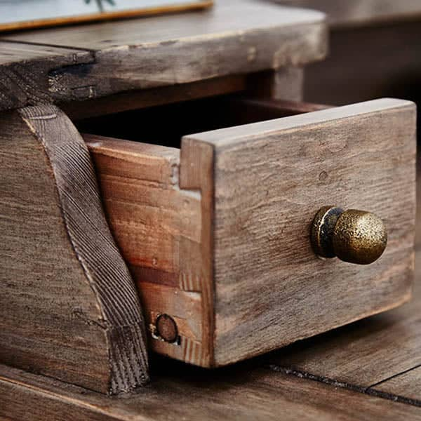 Drawer Detail of Worcester Reclaimed Wood Desk