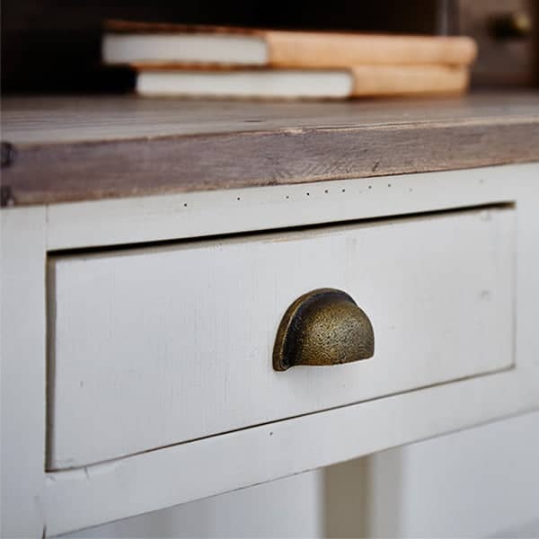 White Painted Drawer Detail of Worcester Reclaimed Wood Desk