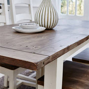Top Detail of Reclaimed Wood Extendable Dining Table