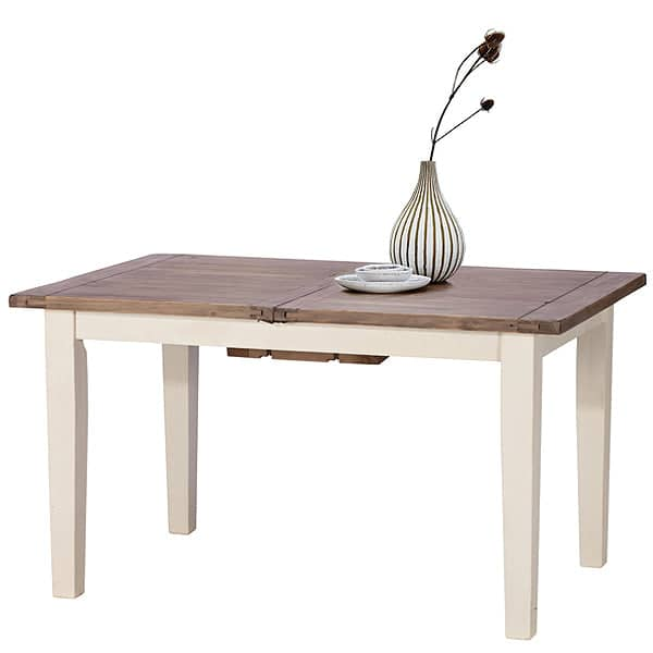 Worcester Reclaimed Wood Extendable Dining Table with White Painted Legs