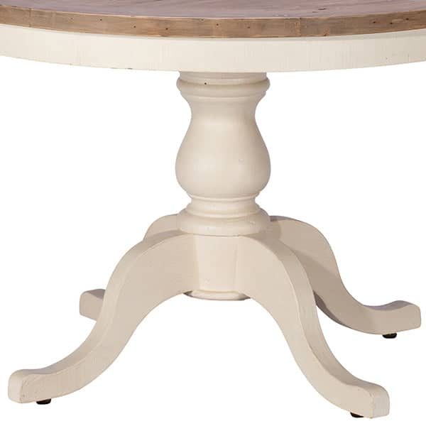 Detail of Worcester Reclaimed Wood Round Dining Table with White Painted Leg