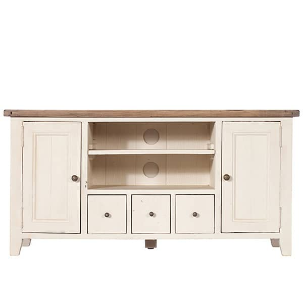 Worcester Reclaimed Wood TV Cabinet painted white with a rustic wooden top