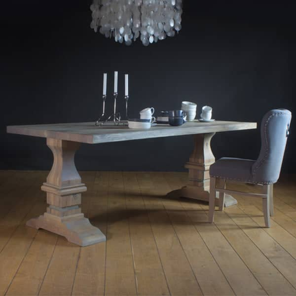 Rustic Oak Dining Table set on pedestal solid oak legs