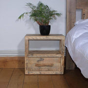 Reclaimed Wood Bedside Table with Drawer