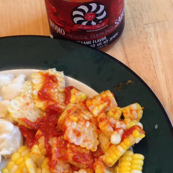 FRESH VERMONT SWEET CORN 🌽 WITH MOMO SAUCE 🌶🍅. TOTALLY DELICIOUS ADDITION TO VEGETABLES TOO!! - Scott W.