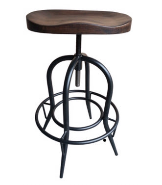 Moulded Dark Elm Wood Barstool with Footrest