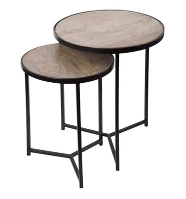 Iron & Wood Nesting Tables Set of 2