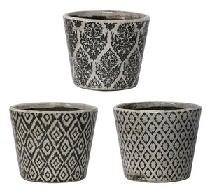 Vintage Patterned Planters - Set of 3