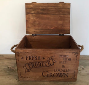 Wooden Vegetable Box with Lid