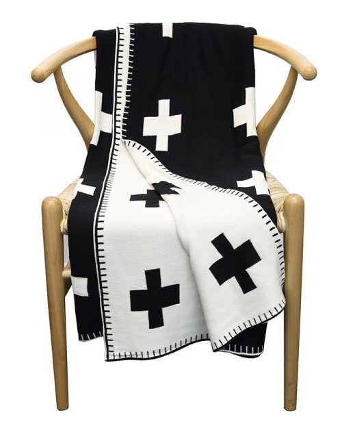 Cotton Cross Throw Black & Natural