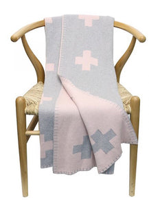 Cotton Cross Throw Blush & Grey