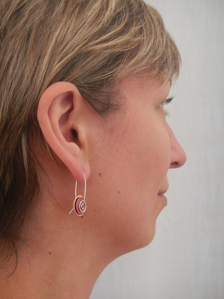 Brass Copper Spiral Earrings
