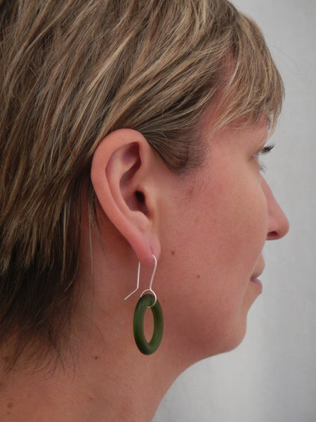 Small Hoop Earrings - Green