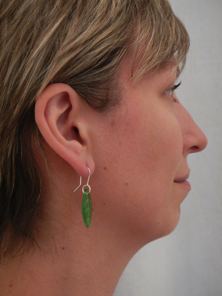 Glass Leaf Earrings - Green