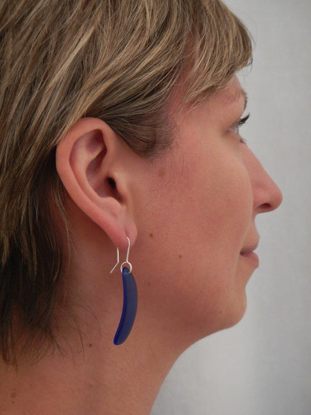 Curve Drop Earrings - Blue