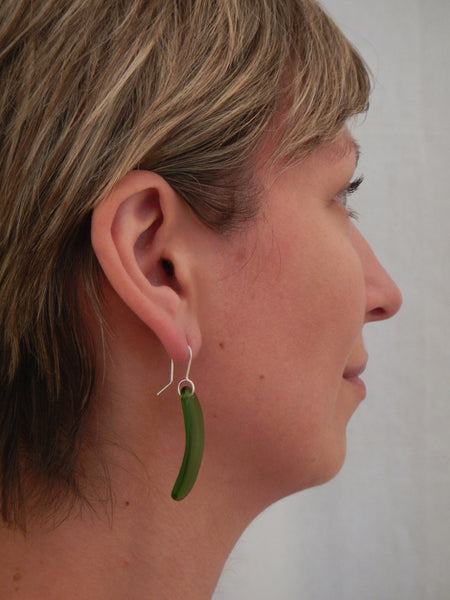Curve Drop Earrings - Green