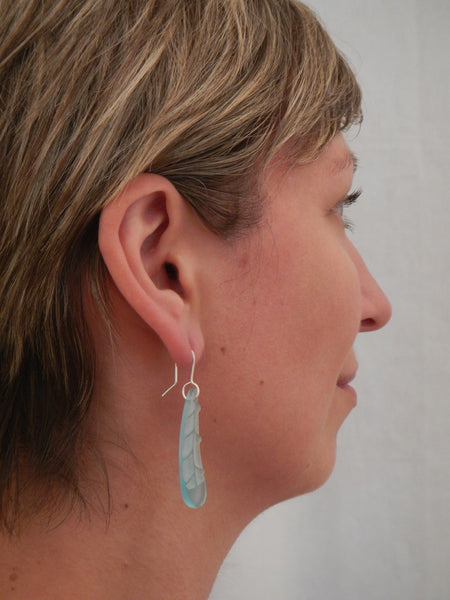 Huia Feather Earrings - Light Blue