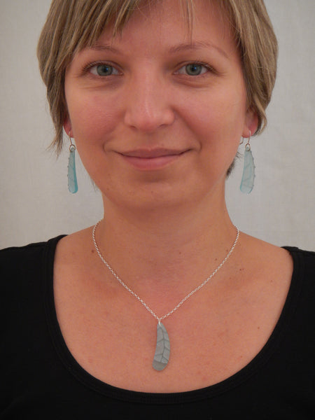 Huia Feather Earrings and Pendant - Light Blue