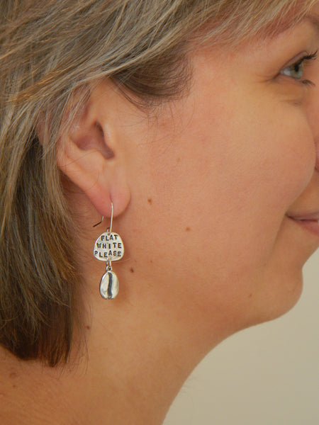 Flat White Please Earrings - Silver