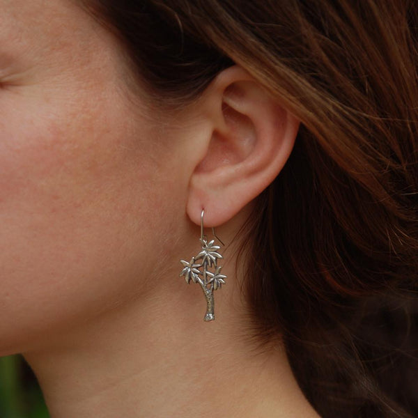 Cabbage Tree Earrings - Silver