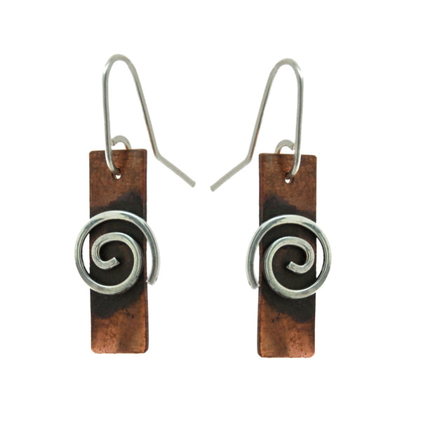 Copper Spiral Platter Earrings