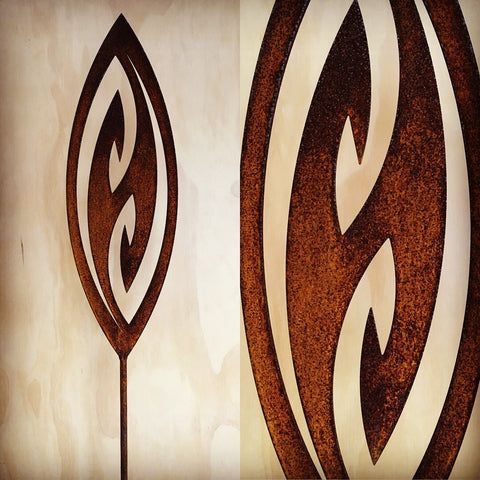 Fish Hook - Corten Spear Garden Art