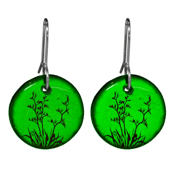 Glass Flax Earrings - Green