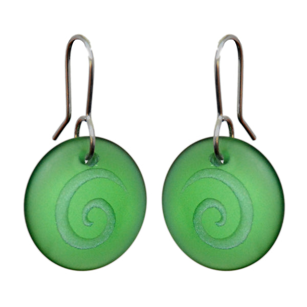 Glass Spiral Disc Earrings - Green