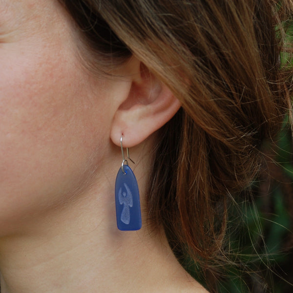 Blue Angel Earrings made from Recycled Glass