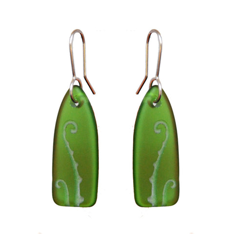 Green Fern Earrings made from Recycled Glass - Iconic NZ Jewellery