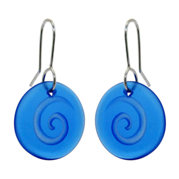 Glass Spiral Disc Earrings - Blue