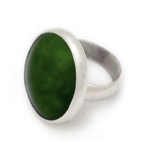 New Zealand Greenstone Ring - set in Sterling Silver